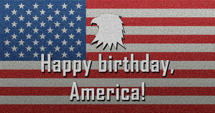För Amerika för lycklig födelsedag Juli 4th lycklig självständighetsdagen fjärdedel av Juli Arkivbild