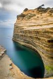 För `-amourthe för kanal D kanal av förälskelse i Korfu Grekland arkivfoto