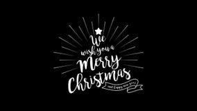 För animeringtext för glad jul och för lyckligt nytt år etikett med alfabetisk stock illustrationer
