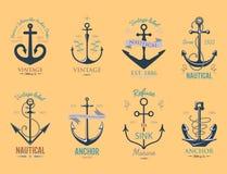 För ankaremblem för tappning illustration för symbol för ankring för retro för vektor för tecken för hav beståndsdel för hav graf Royaltyfri Fotografi