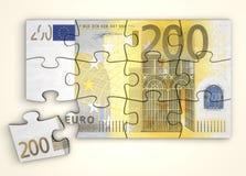 för anmärkningspussel för euro 200 övre sikt Arkivfoto