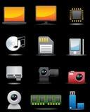 för anordning högvärdig s set för digital elektrisk symbol Royaltyfria Bilder