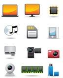 för anordning högvärdig s set för digital elektrisk symbol stock illustrationer