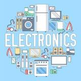 För anordningcirkel för hem- elektronik begrepp för mall för infographics Symboler planlägger för din produkt eller design, rengö Royaltyfri Fotografi
