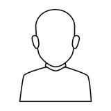 För ansiktslös halv skallig man kroppbrunett för kontur Arkivbild
