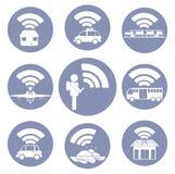 För anslutning Wi-Fi symbolspictograms överallt Arkivfoto