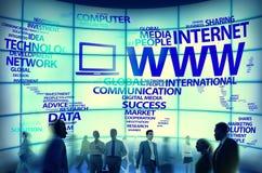 För anslutningsinternet för world wide web globala begrepp Arkivfoton