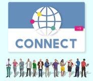 För anslutningsnätverkande för global kommunikation begrepp för diagram arkivfoto