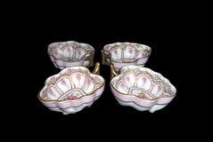 För antik liten disk porslinbordsservis för tappning Royaltyfri Fotografi