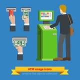 För användningbank för ATM slutliga symboler för sedel för pengar för kreditkort Betalningalternativ som packar ihop finanspengar Royaltyfria Bilder