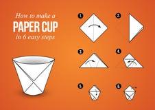 """För anvisningsorigami för den pappers- koppen †""""gör din egen kopp Arkivfoto"""