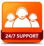 24/7 för apelsinfyrkant för service (symbol för kundomsorglag) röda knapp Arkivfoton