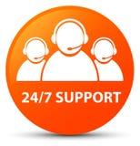 24/7 för apelsinrunda för service (symbol för kundomsorglag) knapp Arkivfoto