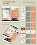 För App-manickar UI för kalender och för väder mobila designer med Smartphone modeller Royaltyfri Bild