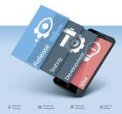 För app-utveckling för vektor mobil symbol Arkivfoto