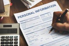 För Appilcation för personlig information privat begrepp identitet Arkivbild