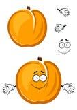 För aprikosfrukt för tecknad film gulligt tecken med luddigt royaltyfri illustrationer
