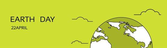För April Holiday Globe Emblem Ecological för medborgare för värld för jorddag baner för begrepp skydd horisontal Royaltyfri Foto