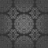 För arabisk prydnad för modell för silver Batikcirkel för tapet blom- mörk Royaltyfria Foton