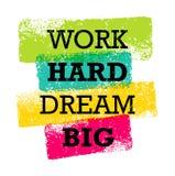 För arbete dröm- stort idérikt motivationcitationstecken hårt Ljust begrepp för tryck för baner för borstevektortypografi Arkivfoton