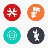 För arbetedag för vektor modern uppsättning för symboler färgrik Arkivbild
