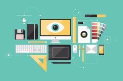 För arbetsplatslägenhet för grafisk formgivare illustration stock illustrationer