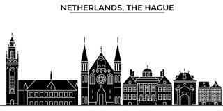 För arkitekturvektorn för Nederländerna Haag horisont för staden, loppcityscape med gränsmärken, byggnader, isolerade på sikt royaltyfri illustrationer