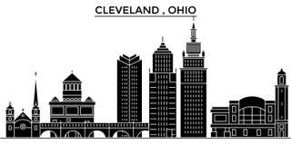 För arkitekturvektorn för USA Ohio Cleveland horisont för staden, loppcityscape med gränsmärken, byggnader, isolerade på sikt royaltyfri illustrationer
