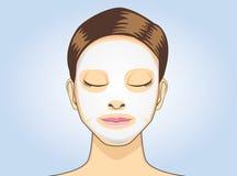 För arkmaskering för kvinnor ansikts- sömn Arkivfoto