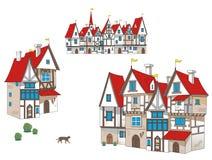 För artoon för saga Ñ medeltida hus Arkivbild