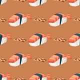 För asia för bakgrund för modell för japansk för kokkonst för sushi traditionell lägenhet för mat sund gourmet- sömlös vektor för vektor illustrationer