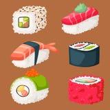 För asia för symboler för japansk för kokkonst för sushi traditionell lägenhet för mat sund gourmet- illustration för vektor för  stock illustrationer