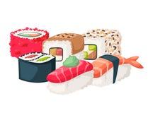 För asia för symboler för japansk för kokkonst för sushi traditionell lägenhet för mat sund gourmet- illustration för vektor för  royaltyfri illustrationer