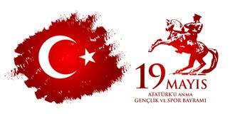 för Ataturk för 19 mayis anma ` u, bayrami för genclikve-spor Översättning från turk: 19th kan åminnelsen av den Ataturk, ungdom- Fotografering för Bildbyråer