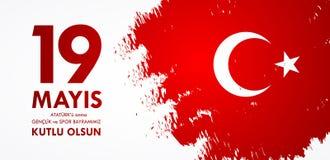 för Ataturk för 19 mayis anma ` u, bayrami för genclikve-spor Översättning från turk: 19th kan åminnelsen av den Ataturk, ungdom- Royaltyfri Foto