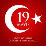 för Ataturk för 19 mayis anma ` u, bayrami för genclikve-spor Översättning: 19th kan åminnelsen av den Ataturk, ungdom- och sport Royaltyfri Fotografi