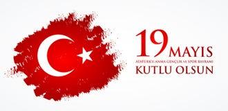 för Ataturk för 19 mayis anma ` u, bayrami för genclikve-spor Översättning: 19th kan åminnelsen av den Ataturk, ungdom- och sport Arkivfoton