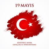 för Ataturk för 19 mayis anma ` u, bayrami för genclikve-spor Översättning: 19th kan åminnelsen av den Ataturk, ungdom- och sport Royaltyfri Bild