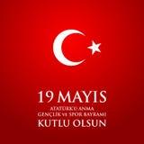 för Ataturk för 19 mayis anma ` u, bayrami för genclikve-spor Översättning: 19th kan åminnelsen av den Ataturk, ungdom- och sport Arkivbild
