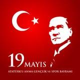 för Ataturk för 19 mayis anma ` u, bayrami för genclikve-spor Översättning: 19th kan åminnelsen av den Ataturk, ungdom- och sport Royaltyfria Foton