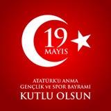 för Ataturk för 19 mayis anma ` u, bayrami för genclikve-spor Översättning: 19th kan åminnelsen av den Ataturk, ungdom- och sport Fotografering för Bildbyråer