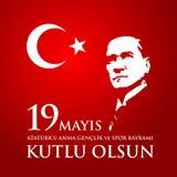 för Ataturk för 19 mayis anma ` u, bayrami för genclikve-spor Översättning: 19th kan åminnelsen av den Ataturk, ungdom- och sport Royaltyfri Foto