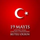 för Ataturk för 19 mayis anma ` u, bayrami för genclikve-spor Översättning: 19th kan åminnelsen av den Ataturk, ungdom- och sport Arkivfoto