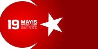 för Ataturk för 19 mayis anma ` u, bayrami för genclikve-spor Översättning från turk: 19th kan av den Ataturk, ungdom- och sportd Arkivfoton