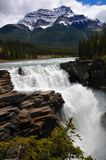För Athabasca för affisch perfekt härlig nedgång vatten i jaspisnationalpark Kanadensiska steniga berg i Alberta Canada royaltyfri fotografi