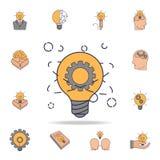 för atomfild för ljus kula och kugghjulsymbol för färg Detaljerad uppsättning av färgidésymboler Högvärdig grafisk design En av s stock illustrationer