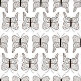För attraktionfjärilar för svart hand sömlös modell stock illustrationer