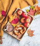 För Autumn Time Bakery Pretzel Toned för kaffe för varm choklad för tekopp filt för halsduk för handarbete foto royaltyfri foto