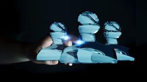 För avatargrupp 3D för affärskvinna rörande skinande glass tolkning Arkivfoto