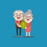 För avgångbesparingar för pensionär bärande påse Royaltyfria Bilder